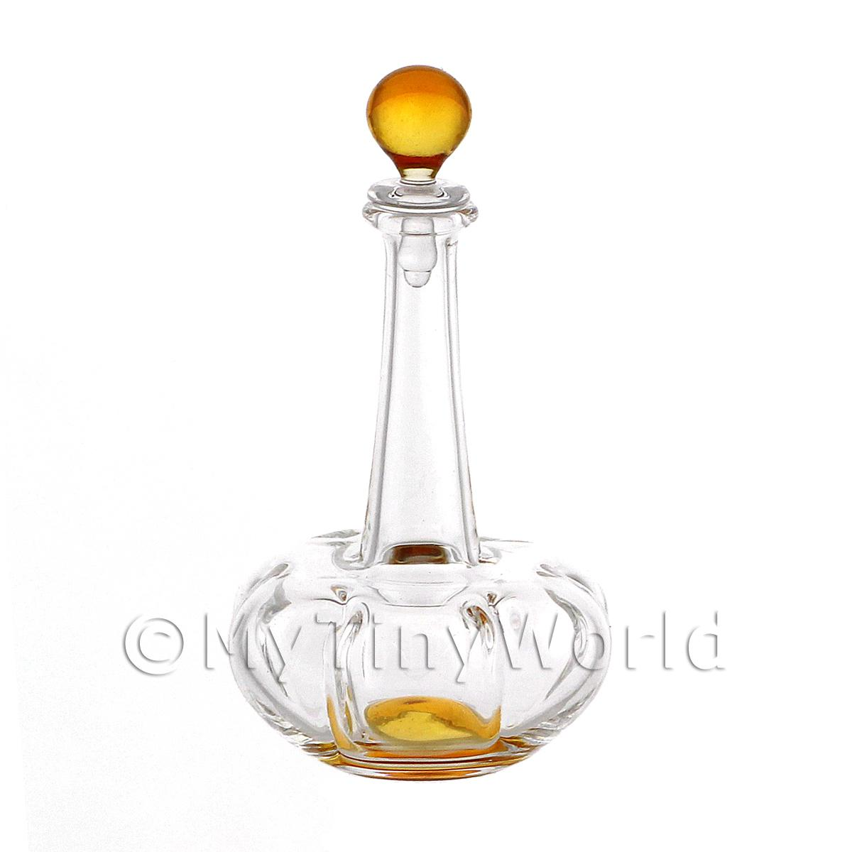 Dolls House Miniature Handmade Orange Based Clasp Style Glass Decanter