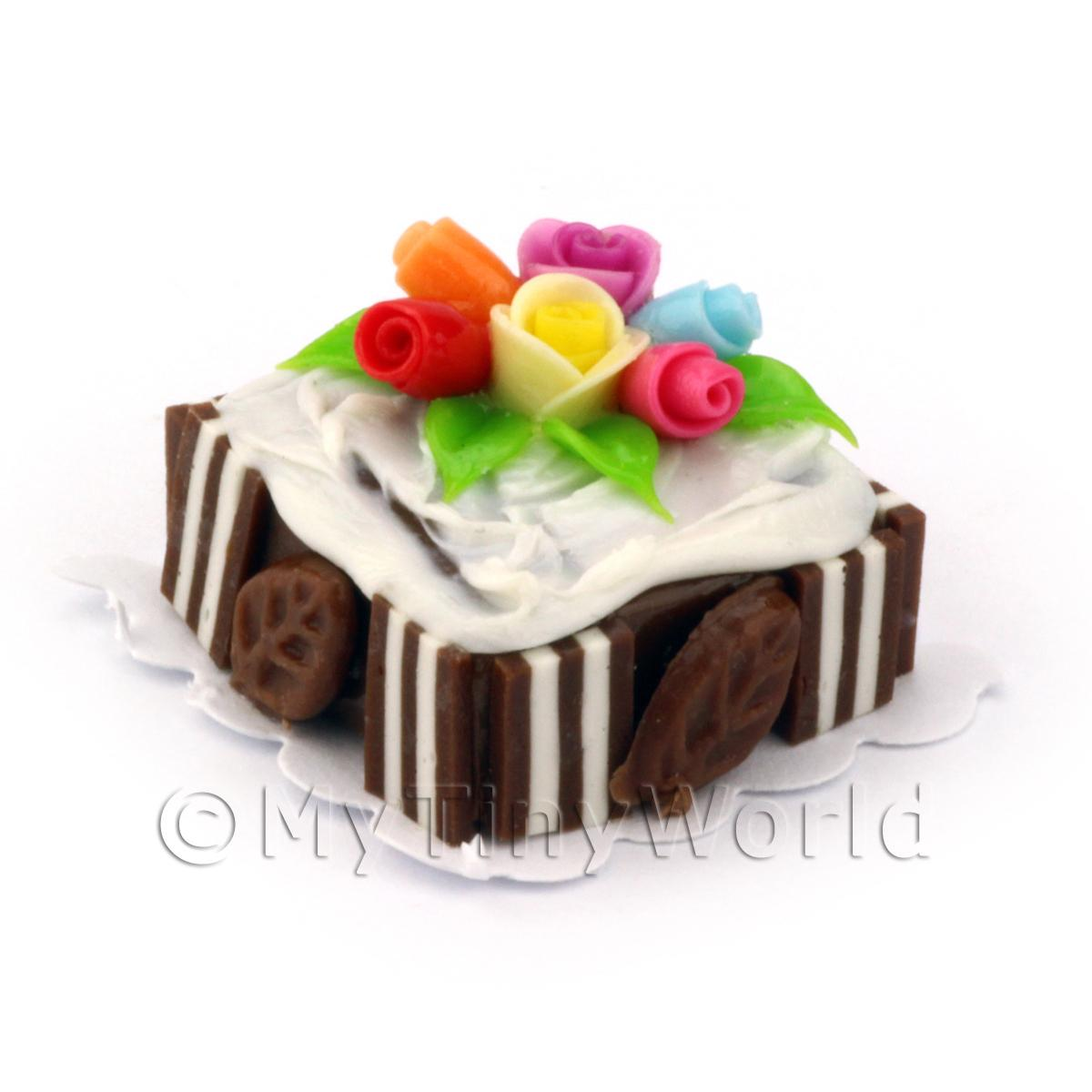 Miniature Small Square Iced Chocolate Cake With Roses