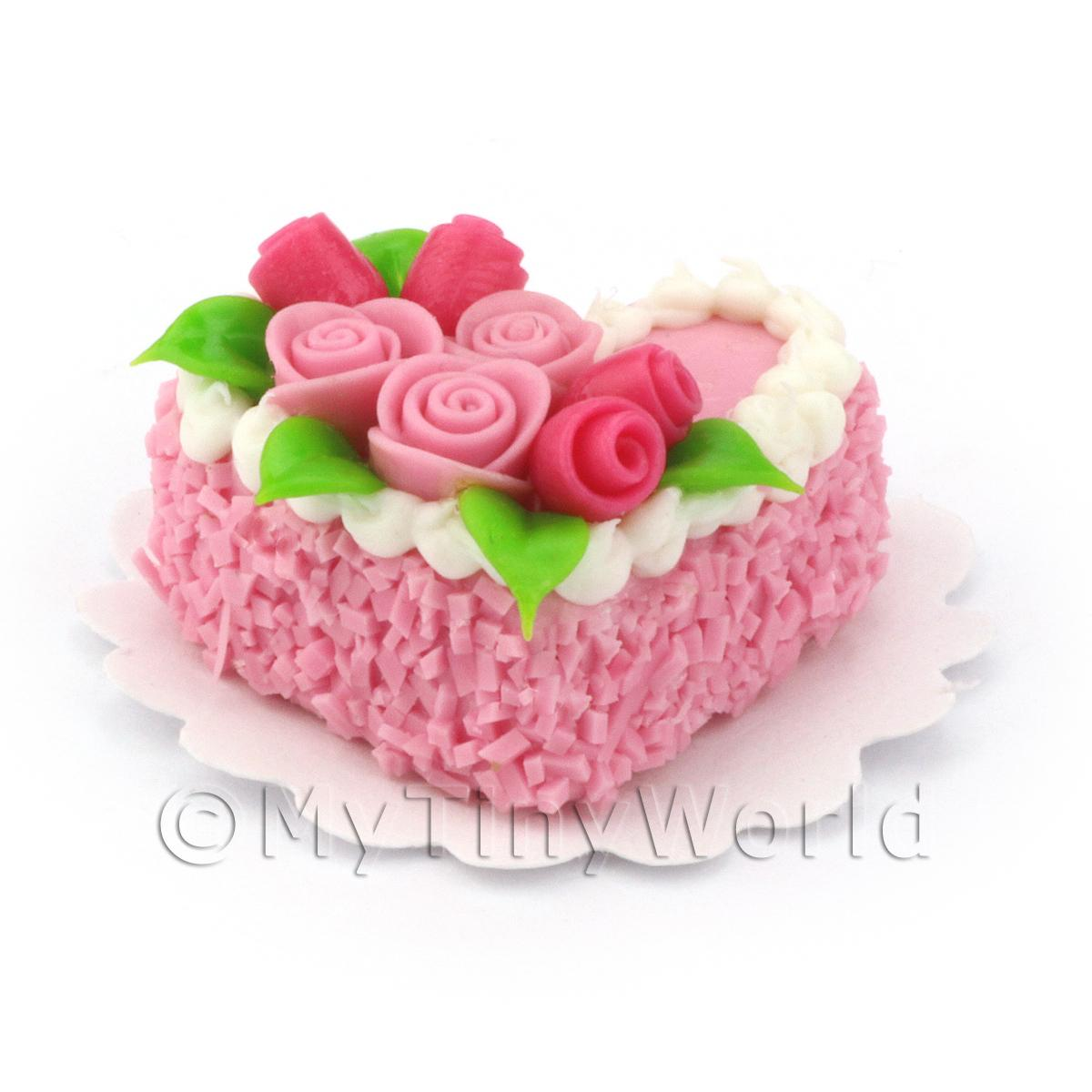 Dolls House Miniature Small Pink Heart Cake With Roses