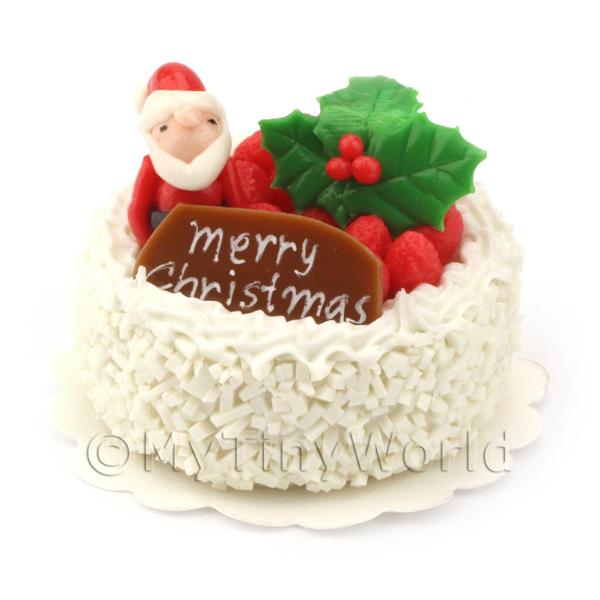 Dolls House Miniature Snowy Father Christmas Cake