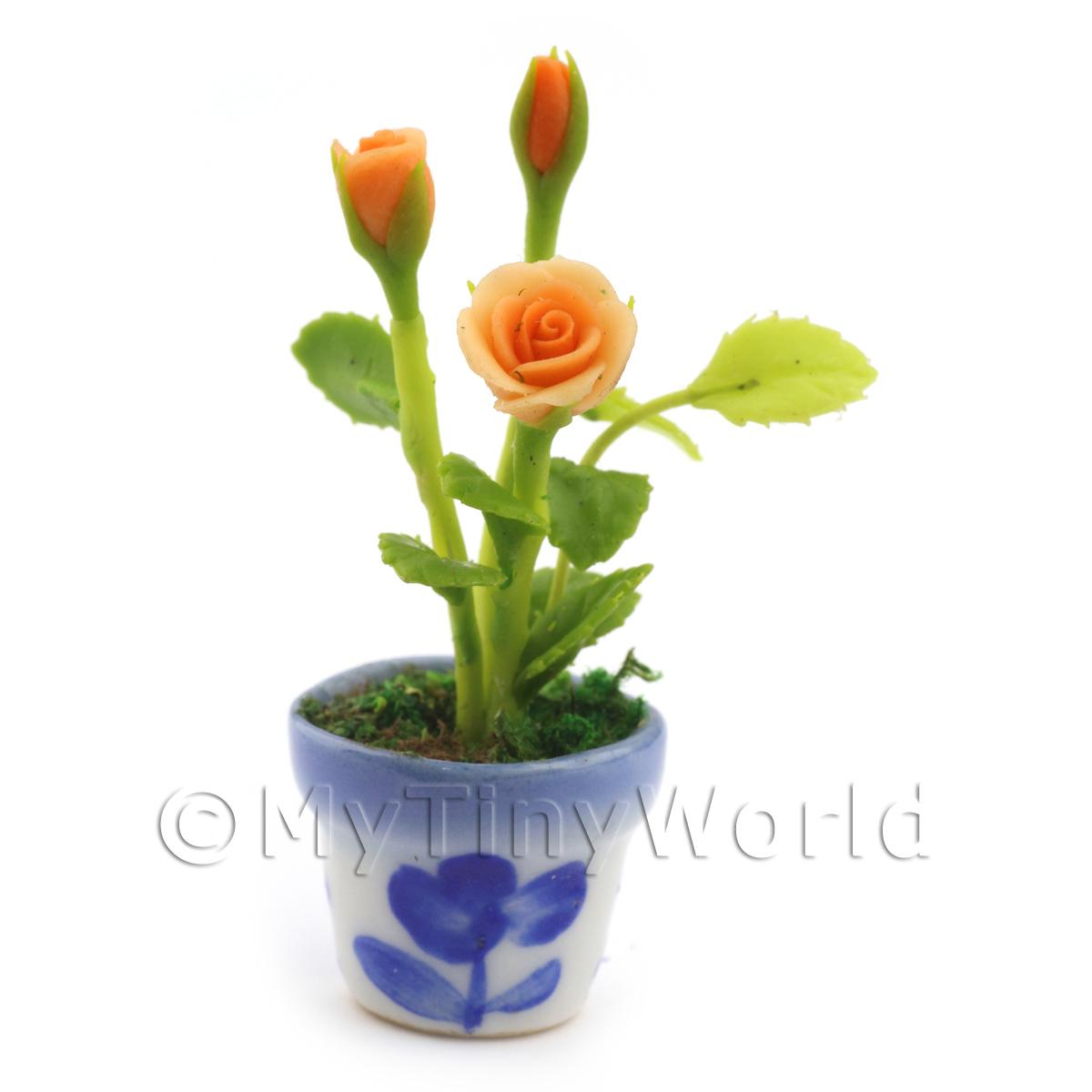 Dolls House Miniature Orange Roses