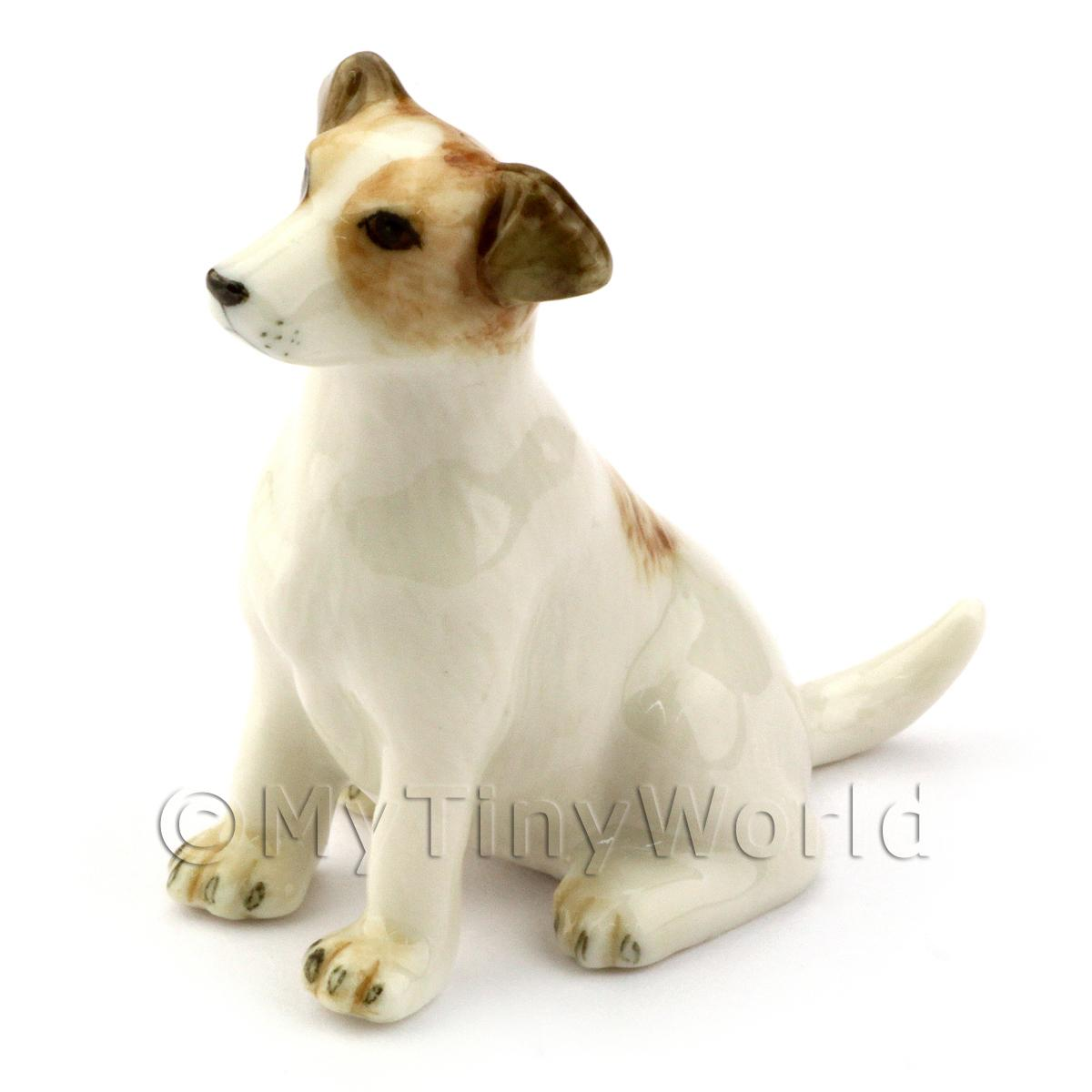 Dolls House Miniature Ceramic Sitting Jack Russell Dog
