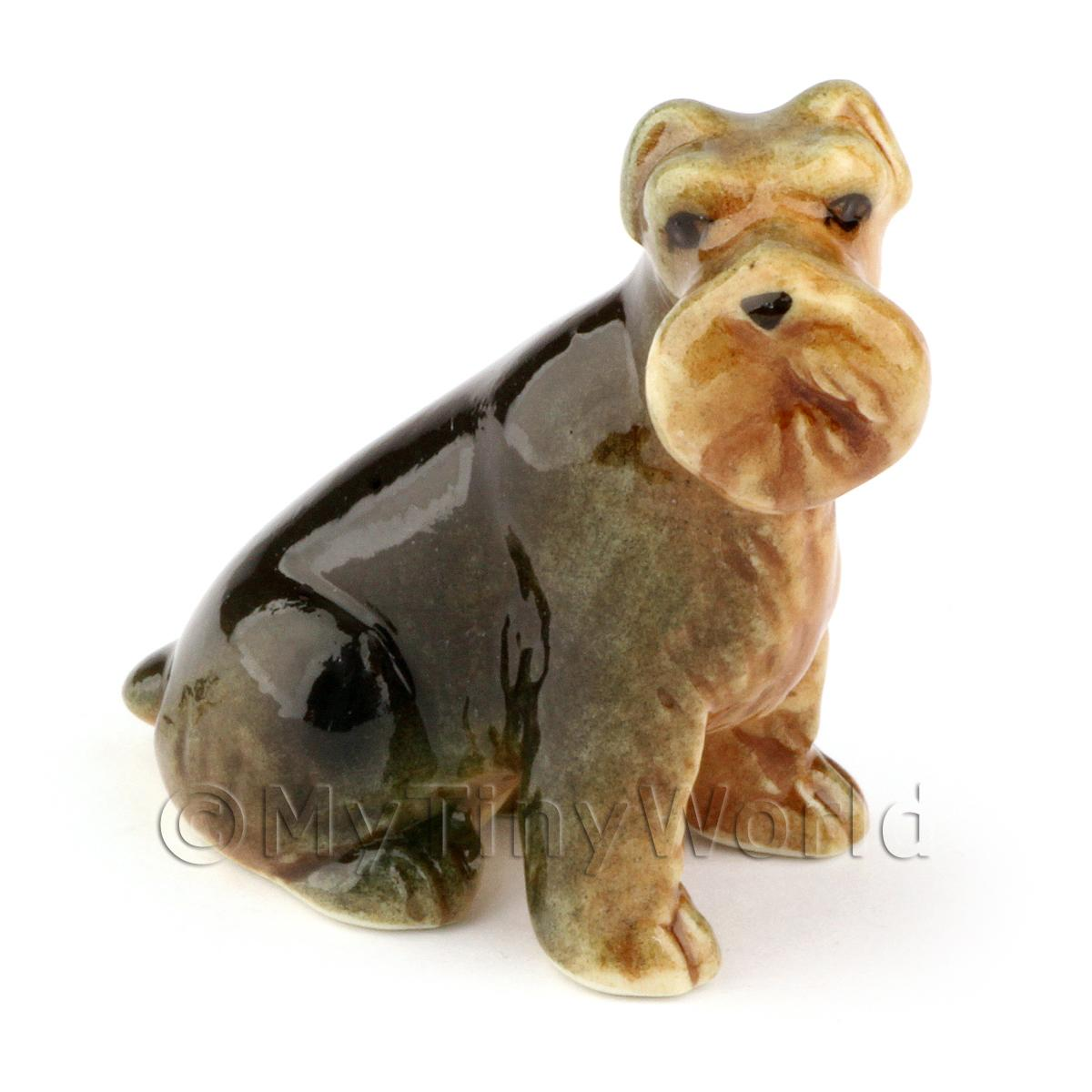 Dolls House Miniature Adult  Sitting Airedale Terrier Dog
