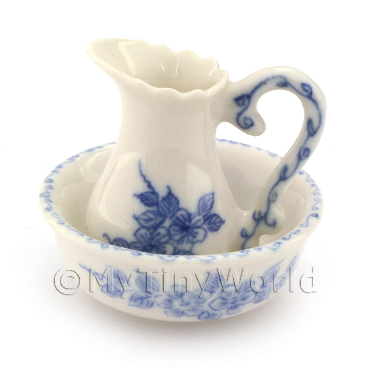 Dolls House Miniature Handmade Victorian Jug and Wash Bowl