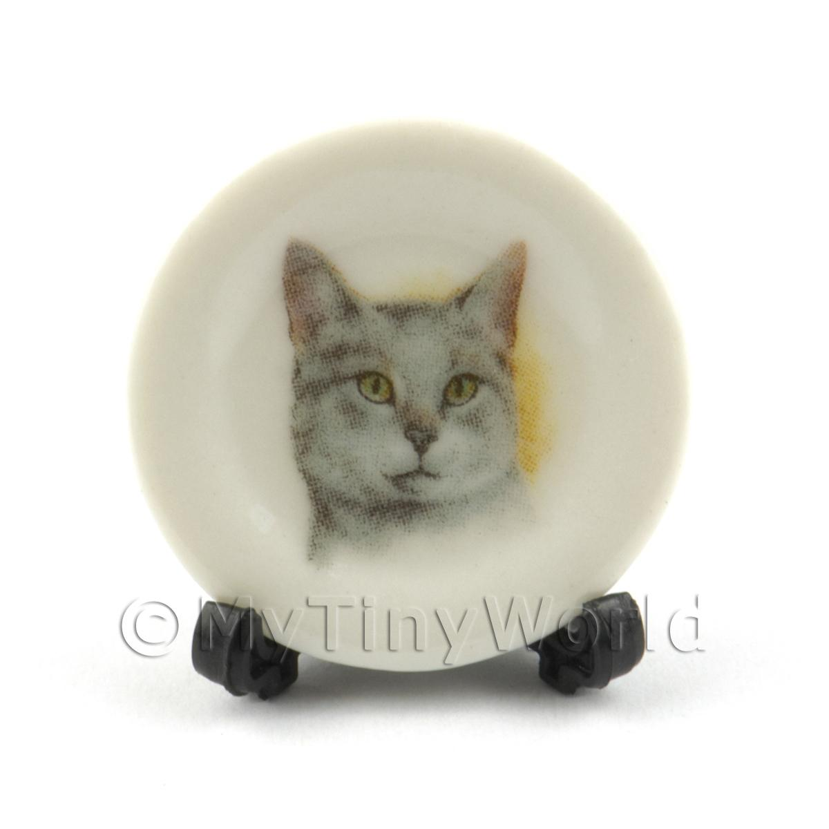 Dolls House Miniature Cat Plate Style 3 and Removable Plate Stand