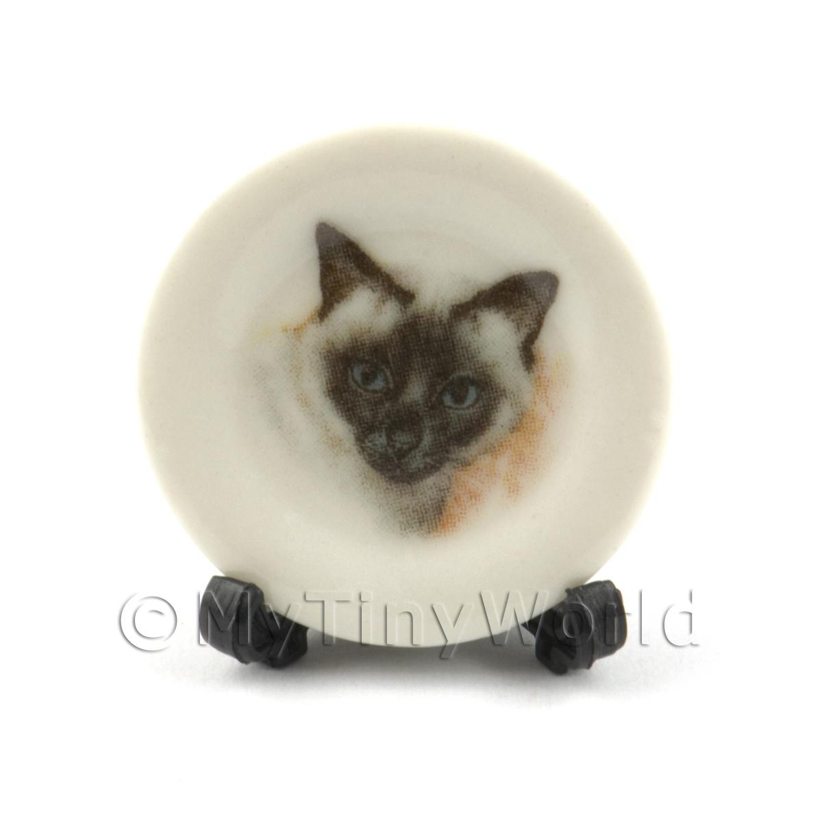 Dolls House Miniature Cat Plate Style 4 and Removable Plate Stand