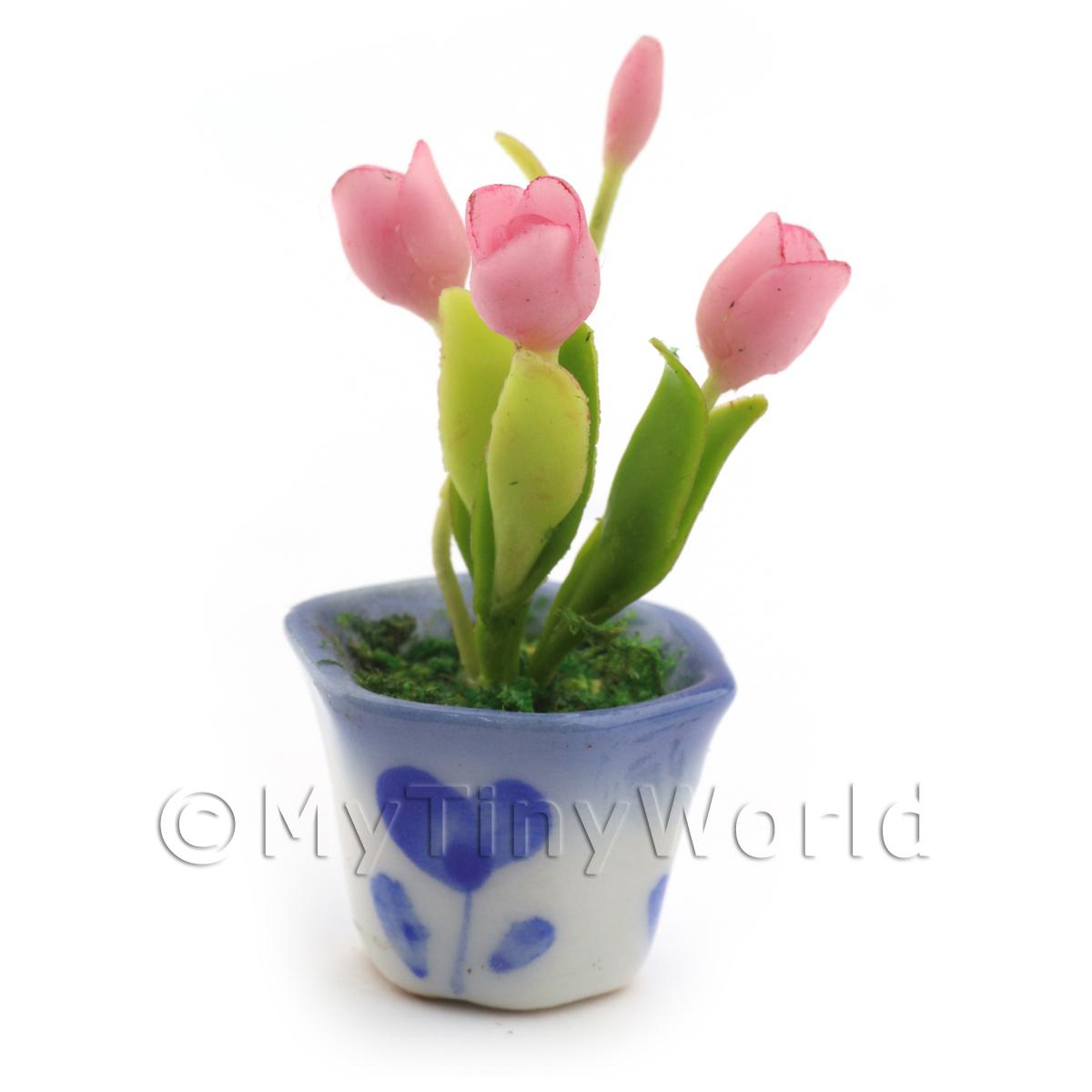 Dolls House Miniature Pink Tulips