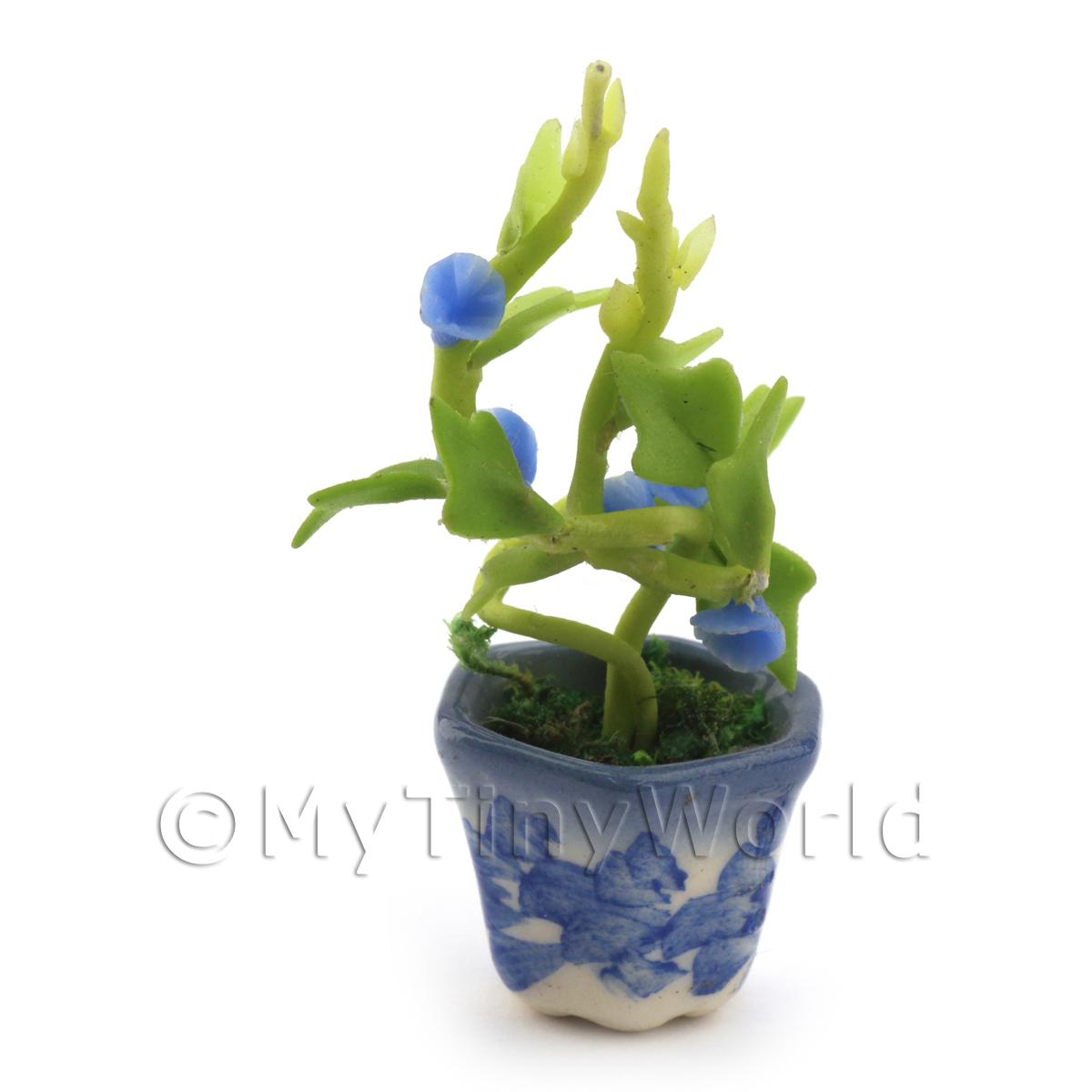 Dolls House Miniature Blue Hollyhock Plant
