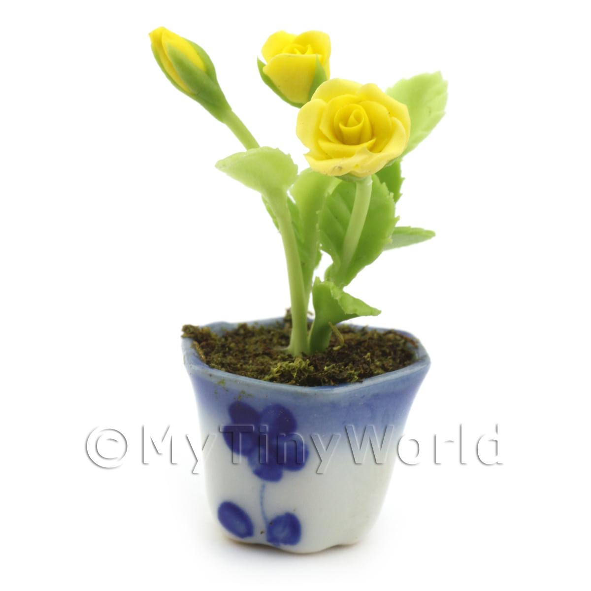 Dolls House Miniature Yellow Roses