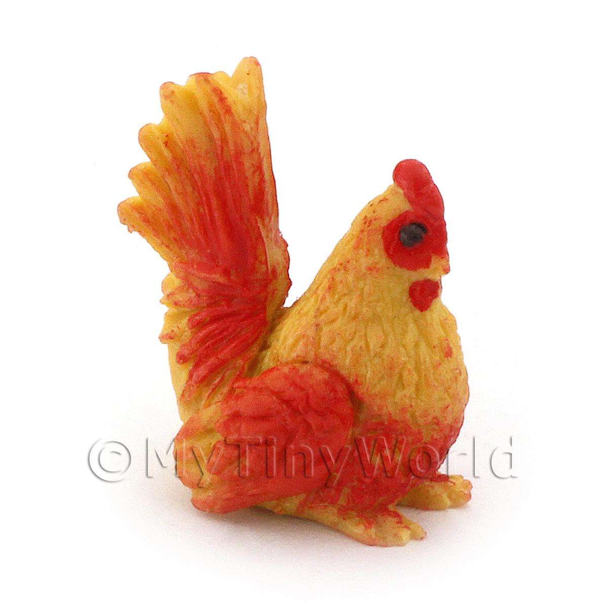 Dolls House Miniature Red And Yellow Hen