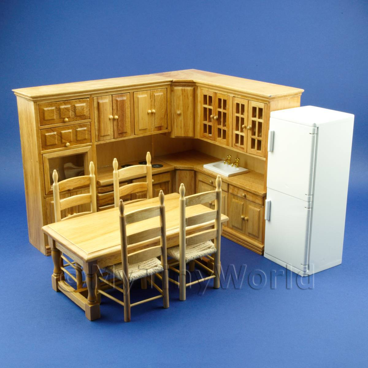 8 Piece Dolls House Miniature Fitted Oak Kitchen