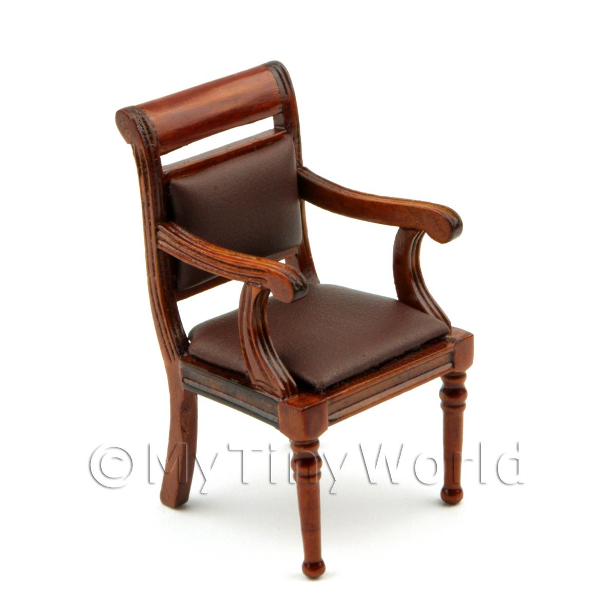 Dolls House Miniature Mahogany Leather Effect Office Chair