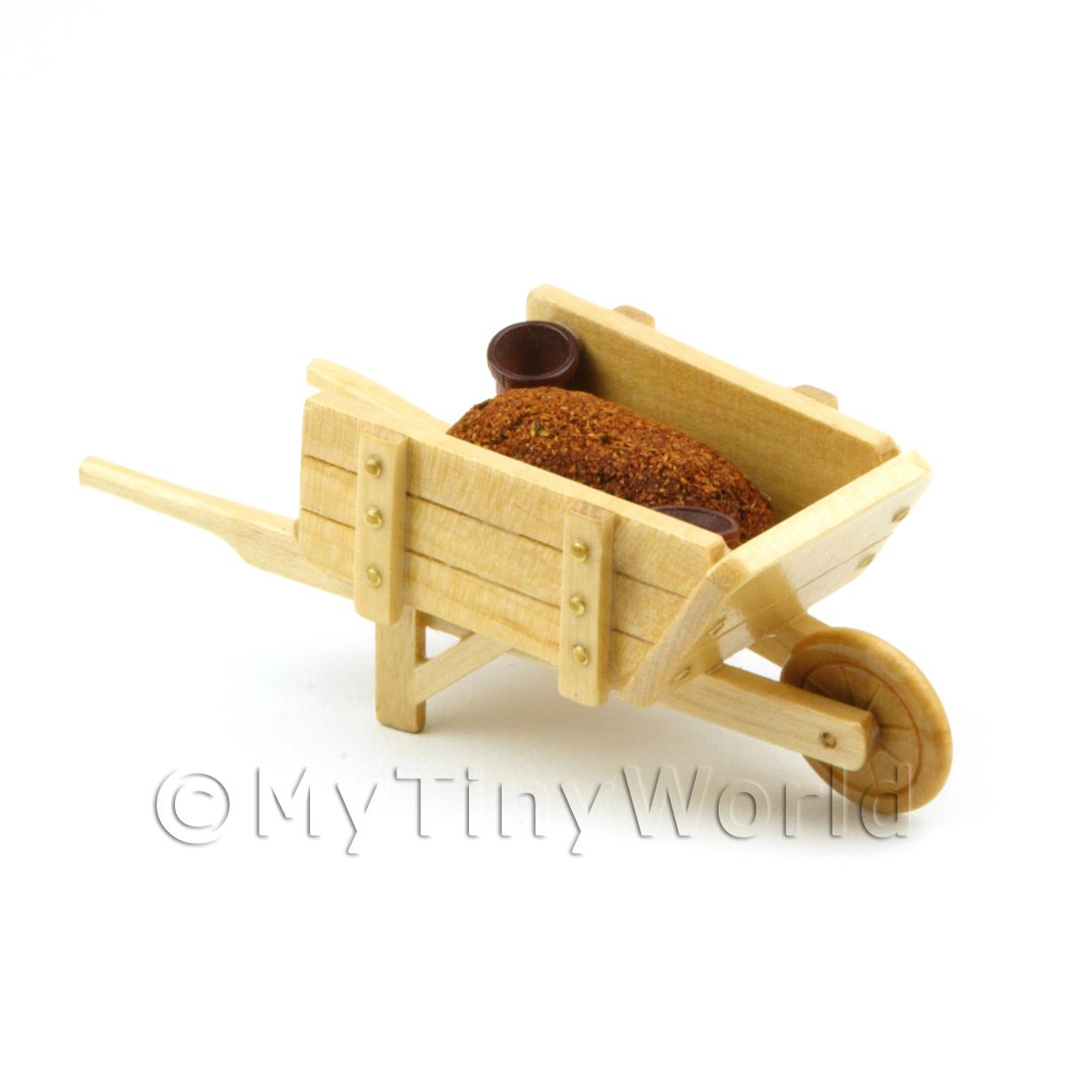 Dolls House Miniature Wood Wheelbarrow with Pots and Earth