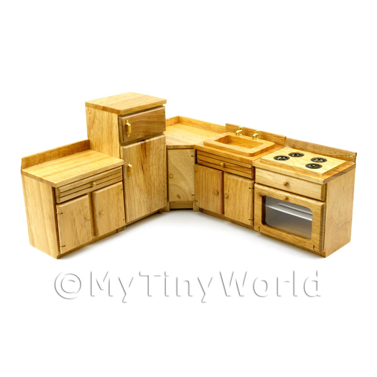 Dolls House Miniature Solid Wood 5 Piece Oak Kitchen Set