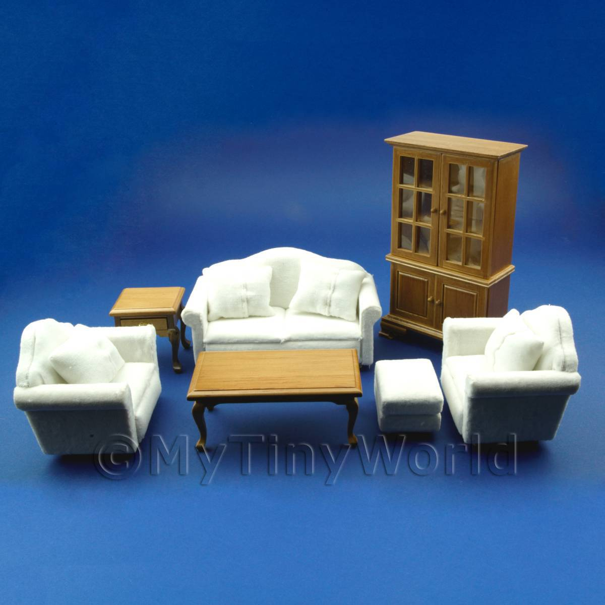7 Piece Dolls House Miniature White Living Room Set