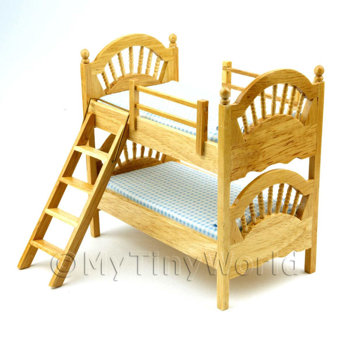 Dolls House Miniature Pine Bunk Bed
