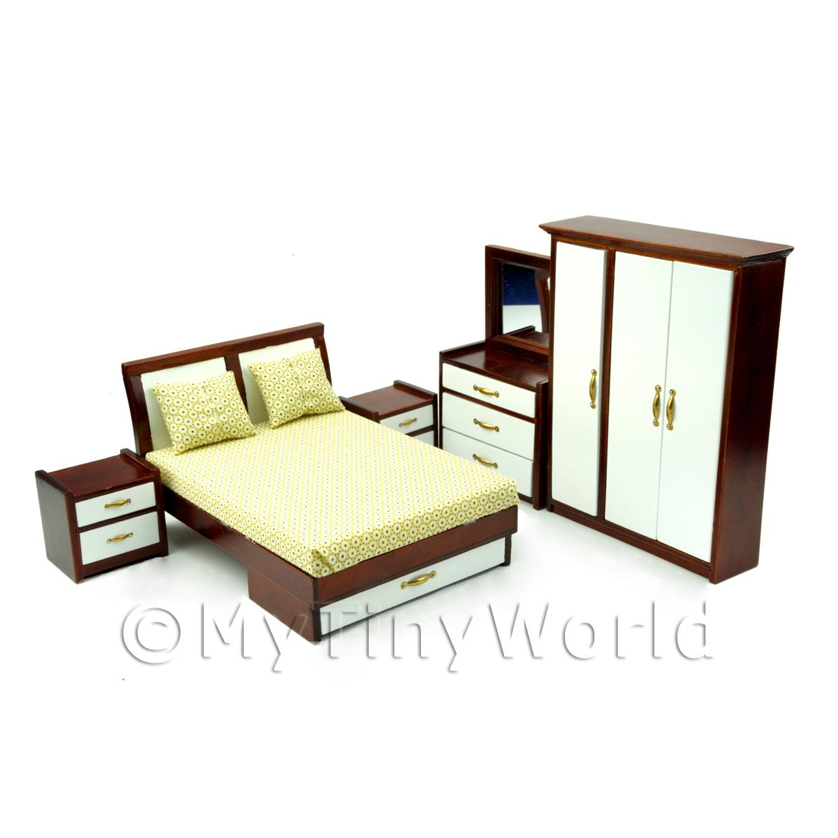 5 Piece Dolls House Miniature Solid Wood Retro Bedroom Set