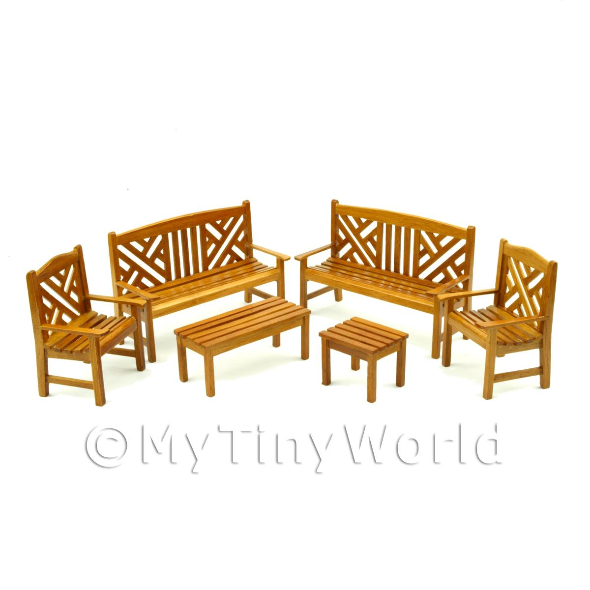 6 Piece Dolls House Miniature Elegant Garden Bench Set