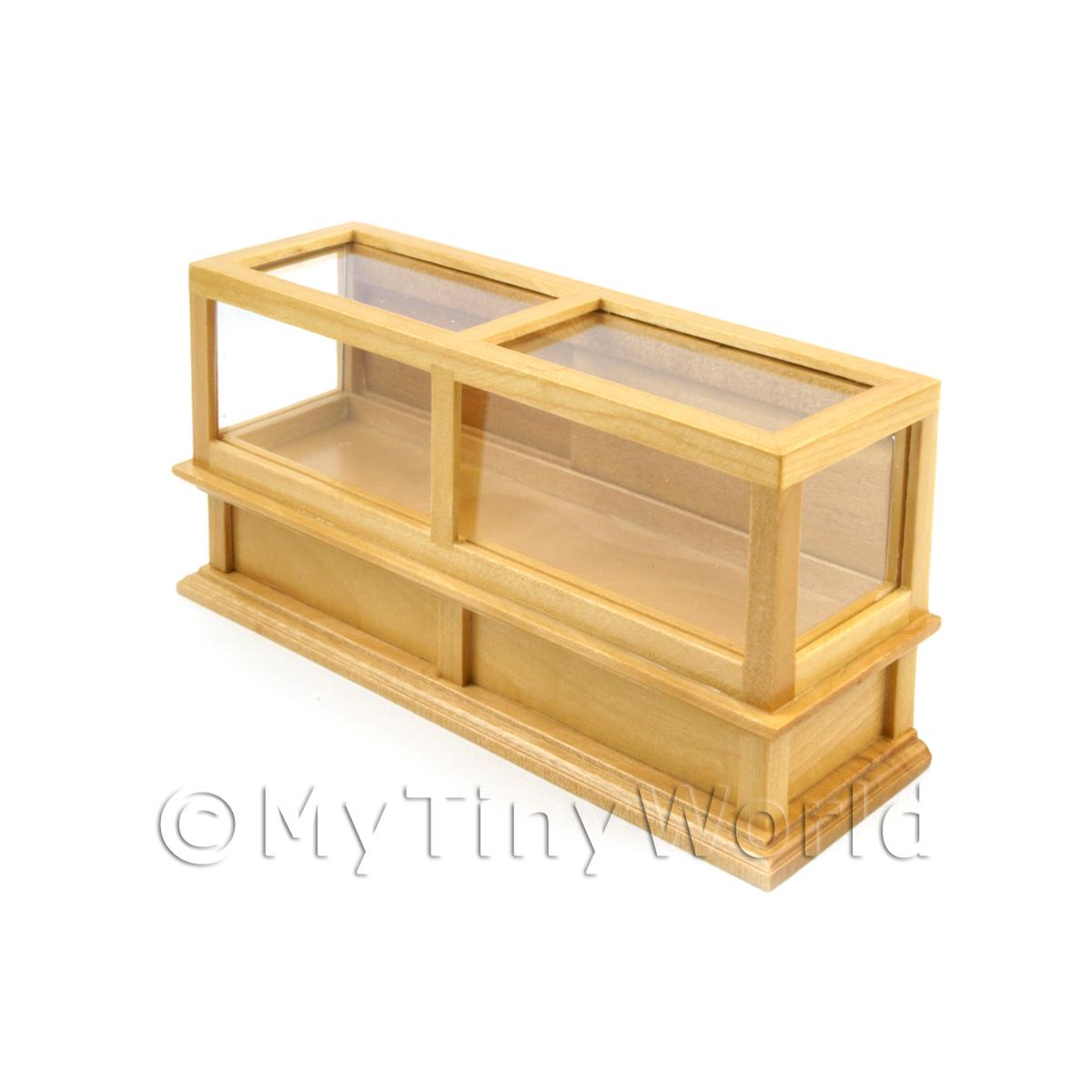Dolls House Miniature Pine Shop Counter with clear sliding doors