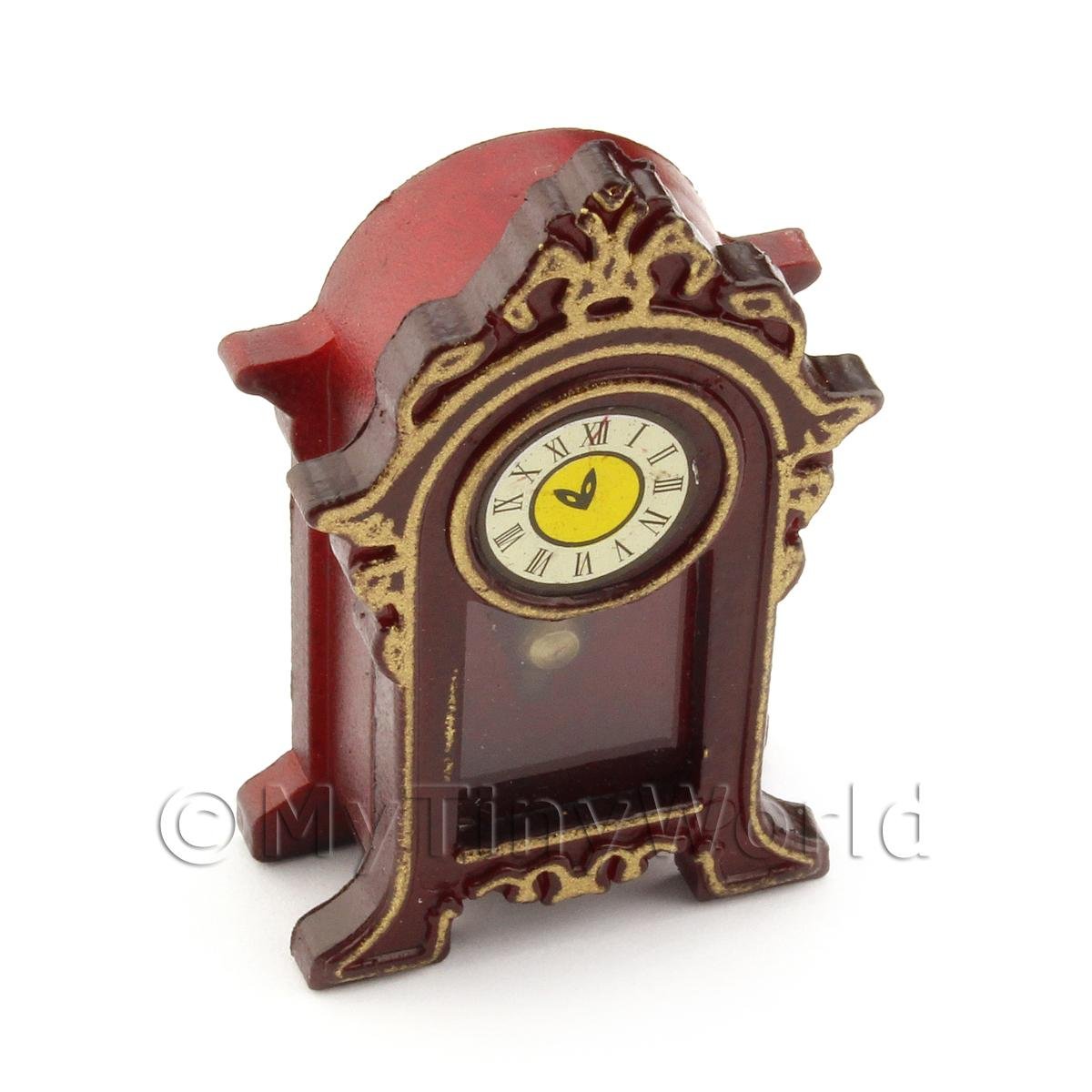 Dolls House Miniature Old Style Brown Mantelpiece Clock