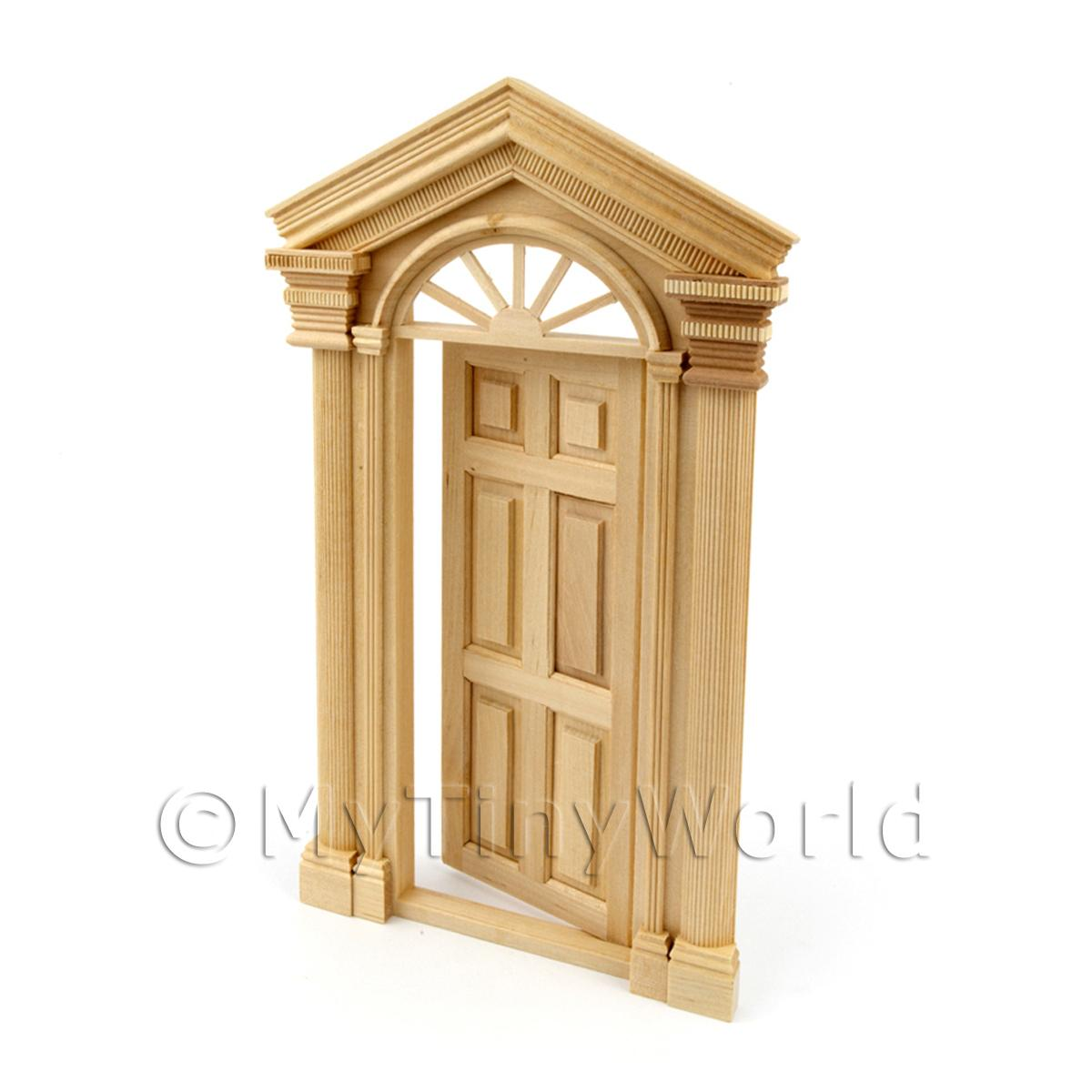 Dolls House Miniature External Door With Portico