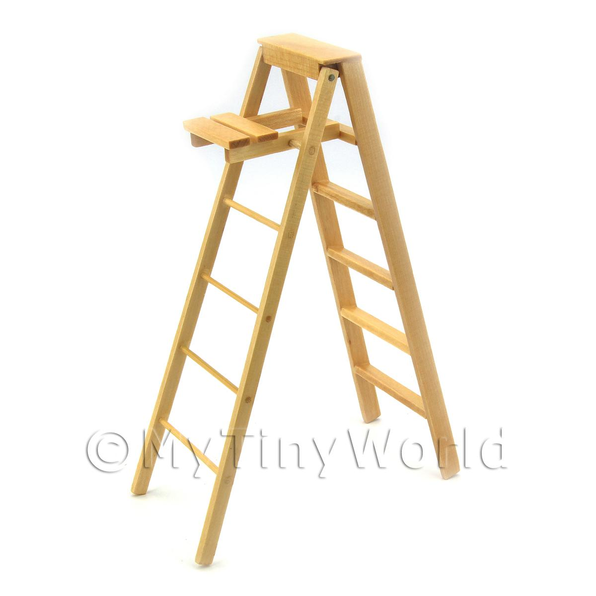 Dolls House Miniature Wooden Step Ladder