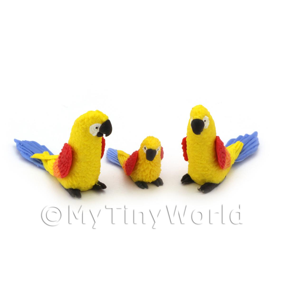 3 Yellow Dolls House Miniature Parrots with Multi-Coloured Wings