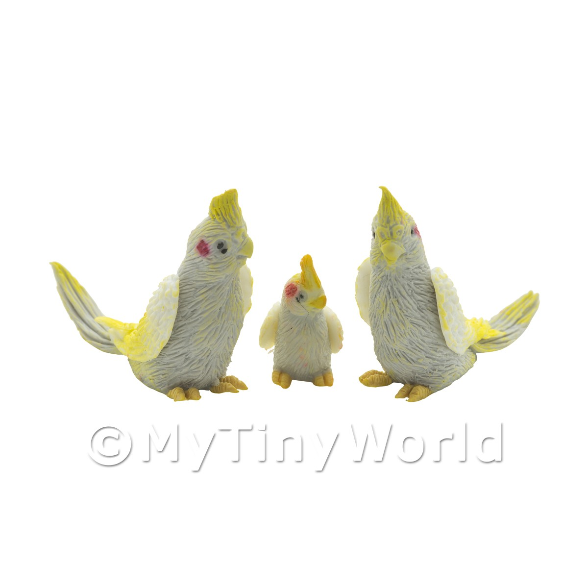 Pair Of Dolls House Miniature Grey Cockatoos With Baby