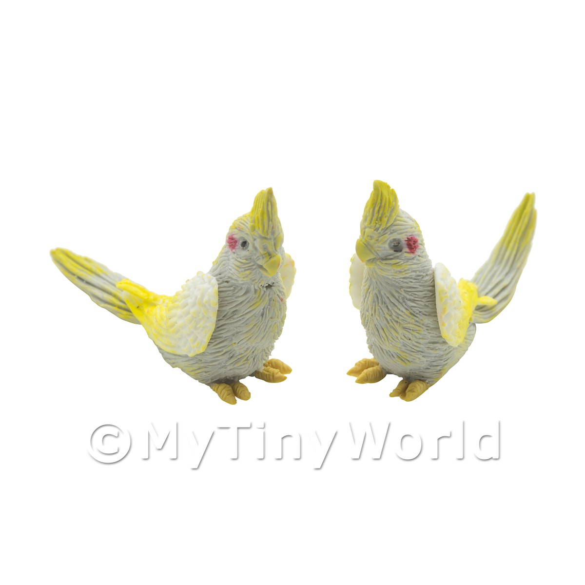 Pair of Dolls House Miniature Handmade Grey And Yellow Cockatoos