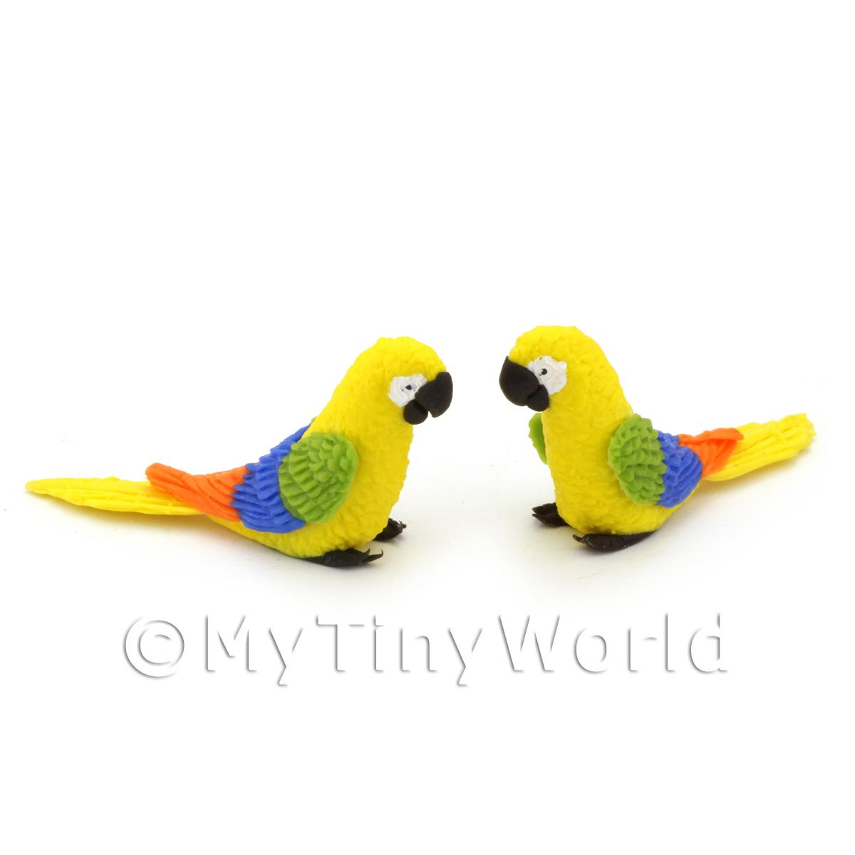 2 Yellow Dolls House Miniature Parrots with Multi-coloured Wings