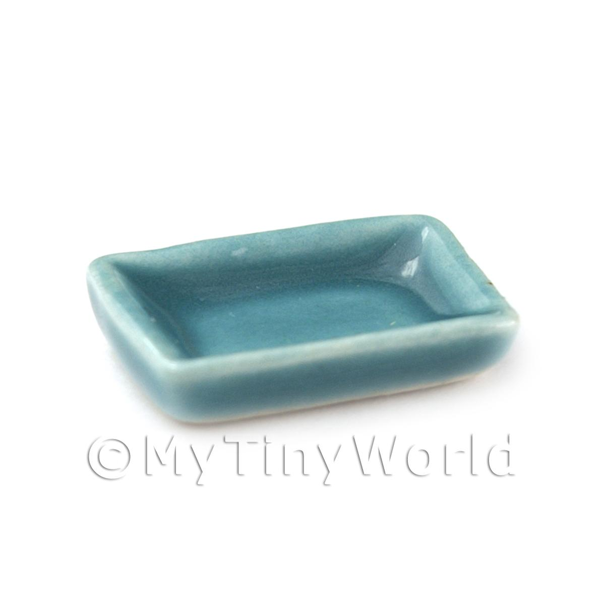 Dolls House Miniature 20mm Aquamarine Oblong Ceramic Plate