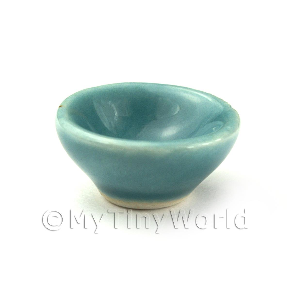 Dolls House Miniature Aquamarine 18mm Ceramic Cereal Bowl