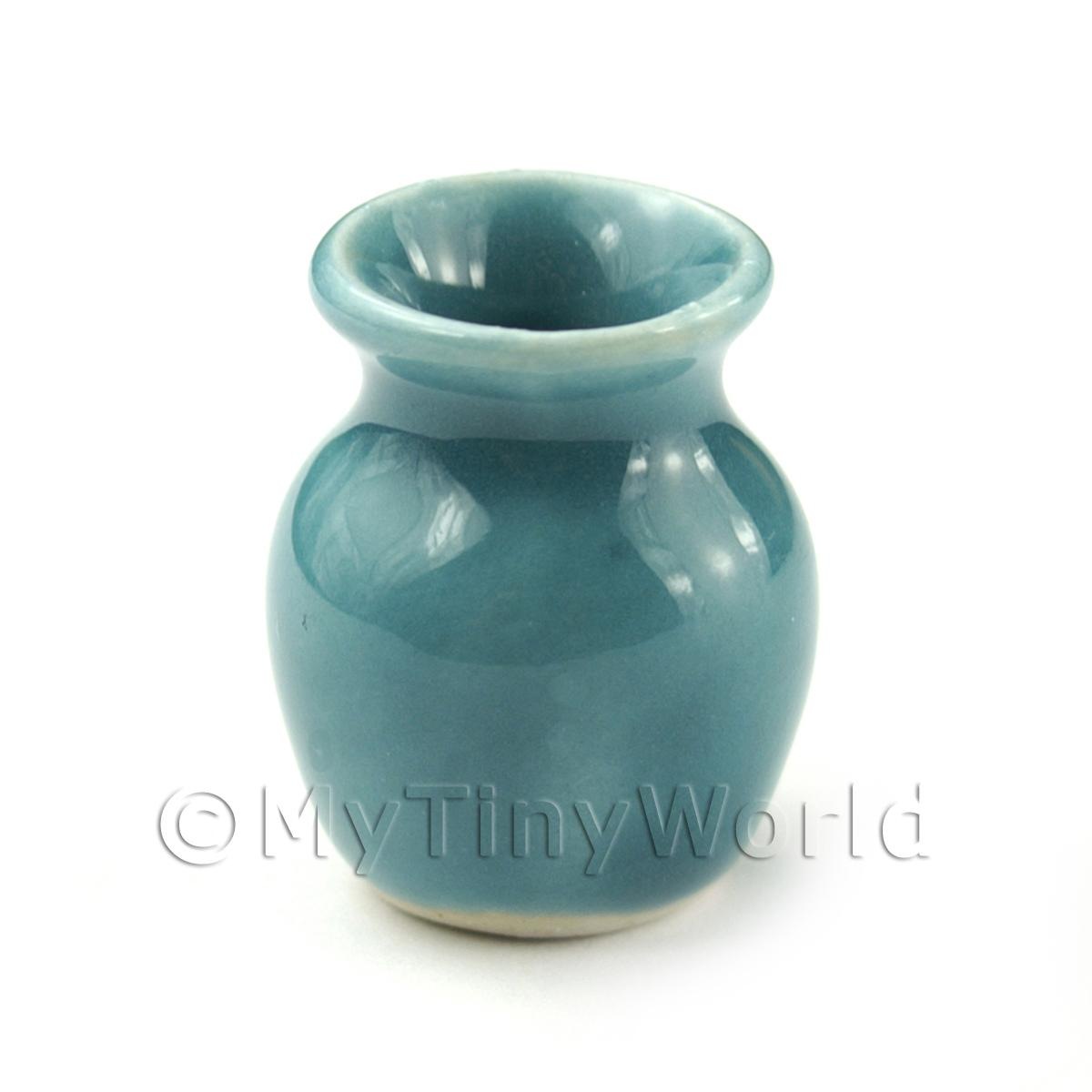 Miniature 23mm Aquamarine Ceramic Lipped Classic Vase