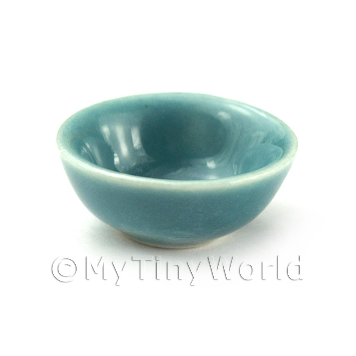 Dolls House Miniature Aquamarine 22mm Ceramic Bowl