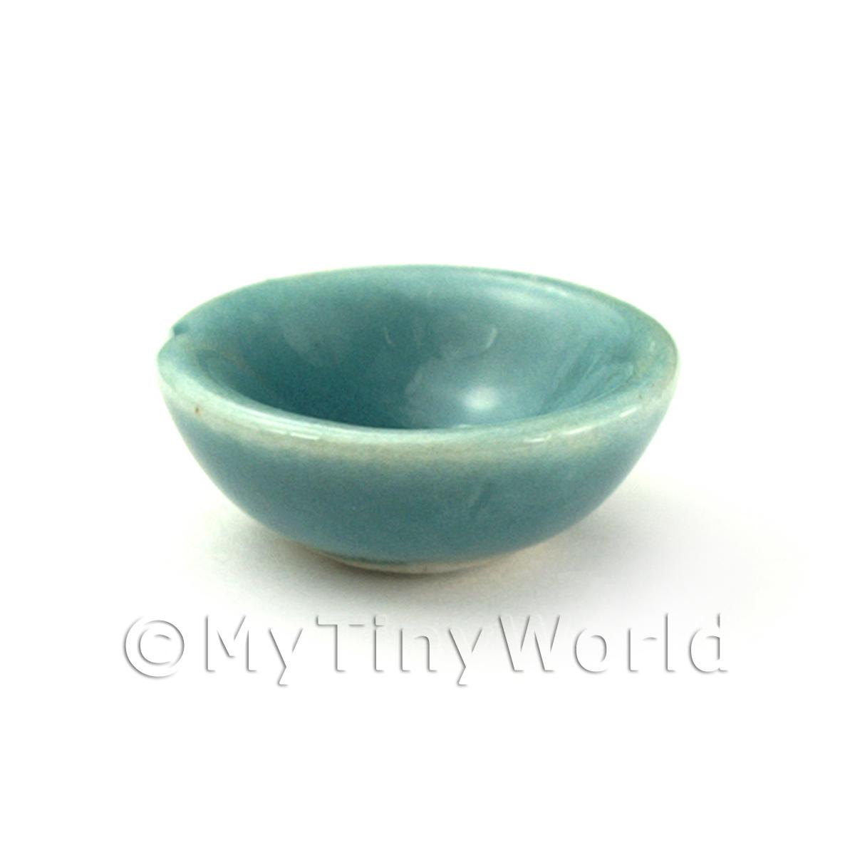 Dolls House Miniature Aquamarine 15mm Ceramic Bowl