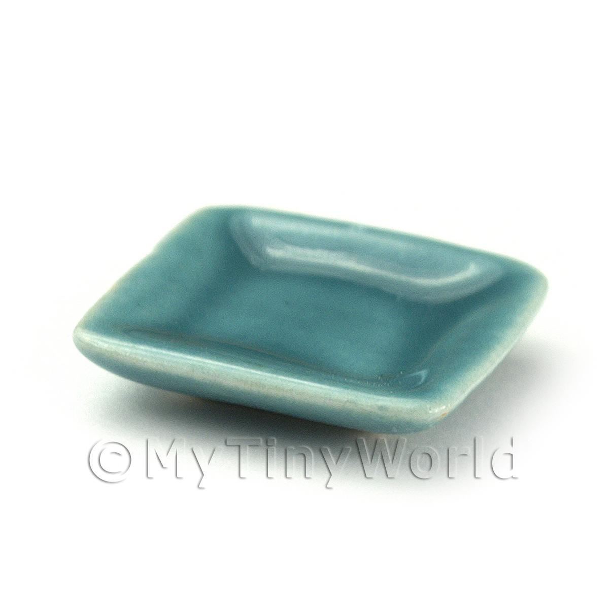 Dolls House 20mm Aquamarine Ceramic Square Plate
