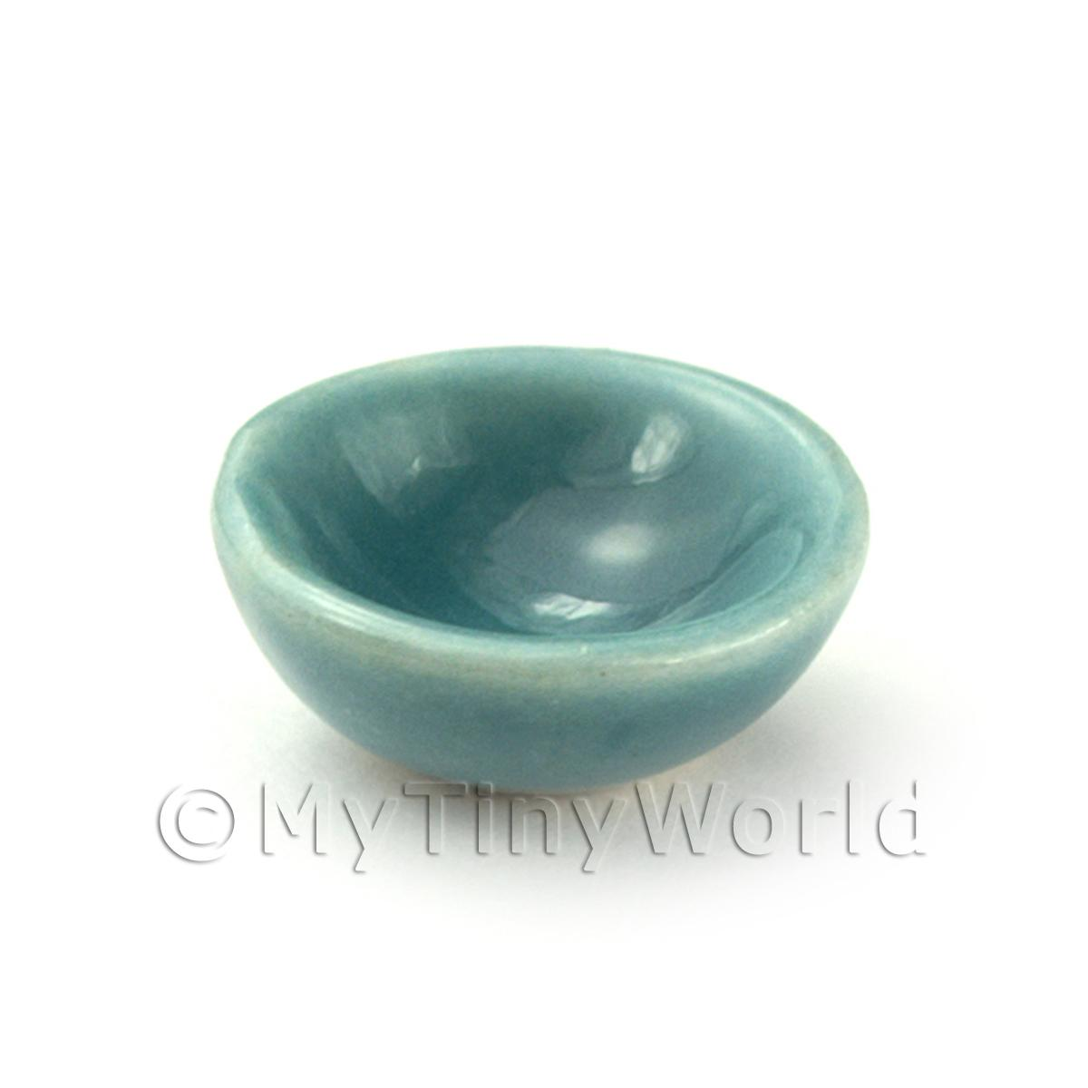 Dolls House Miniature Aquamarine 12mm Ceramic Bowls