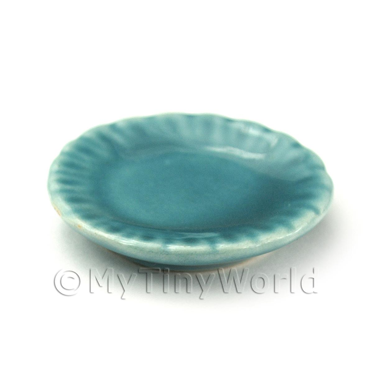 Dolls House Miniature 25mm Fluted Aquamarine Plate