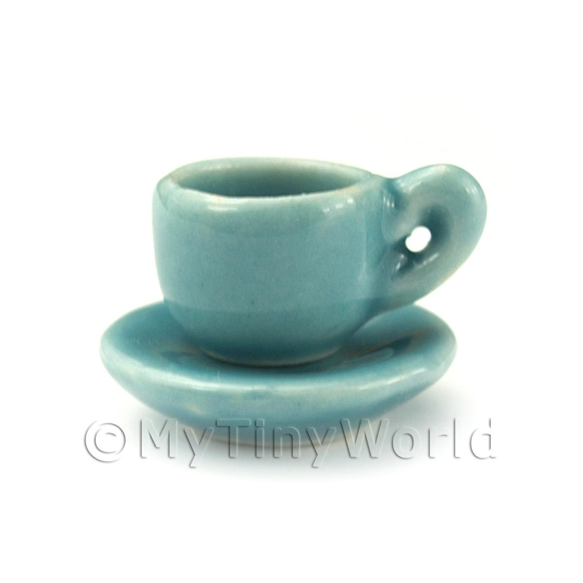 Dolls House Aquamarine Ceramic Tea Cup and Saucer