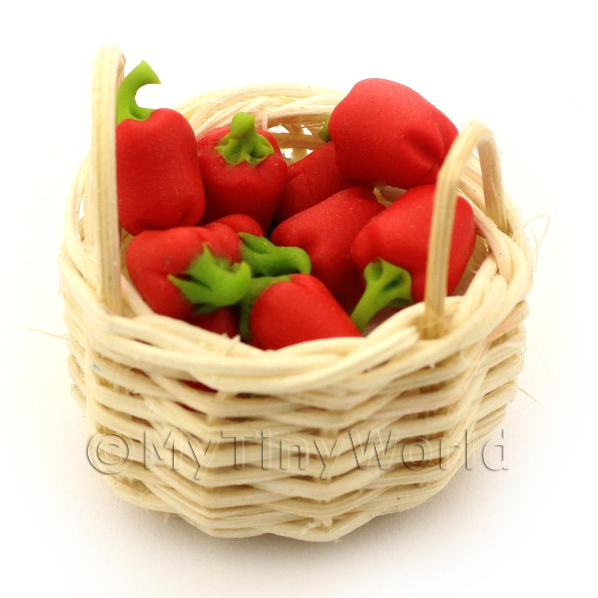 Dolls House Miniature Basket of Handmade Red Bell Peppers