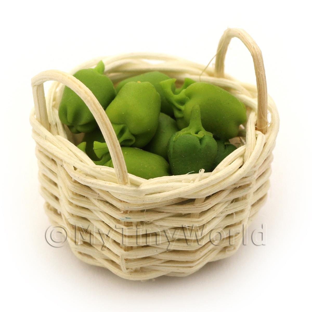 Dolls House Miniature Basket of Hand Made Green Bell Peppers