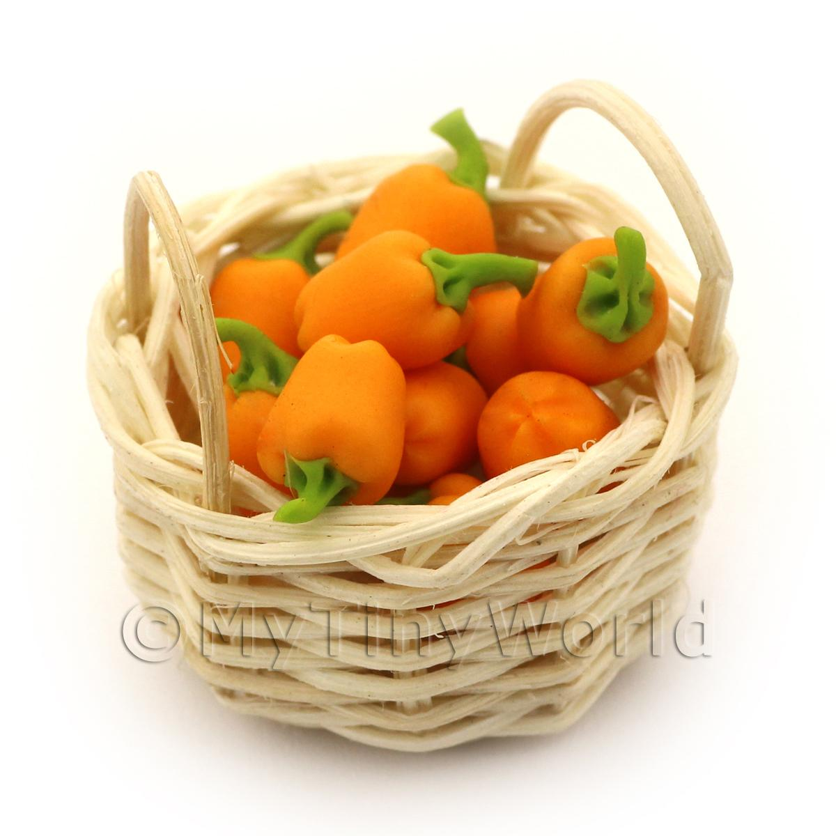 Dolls House Miniature Basket of Hand Made Orange Bell Peppers