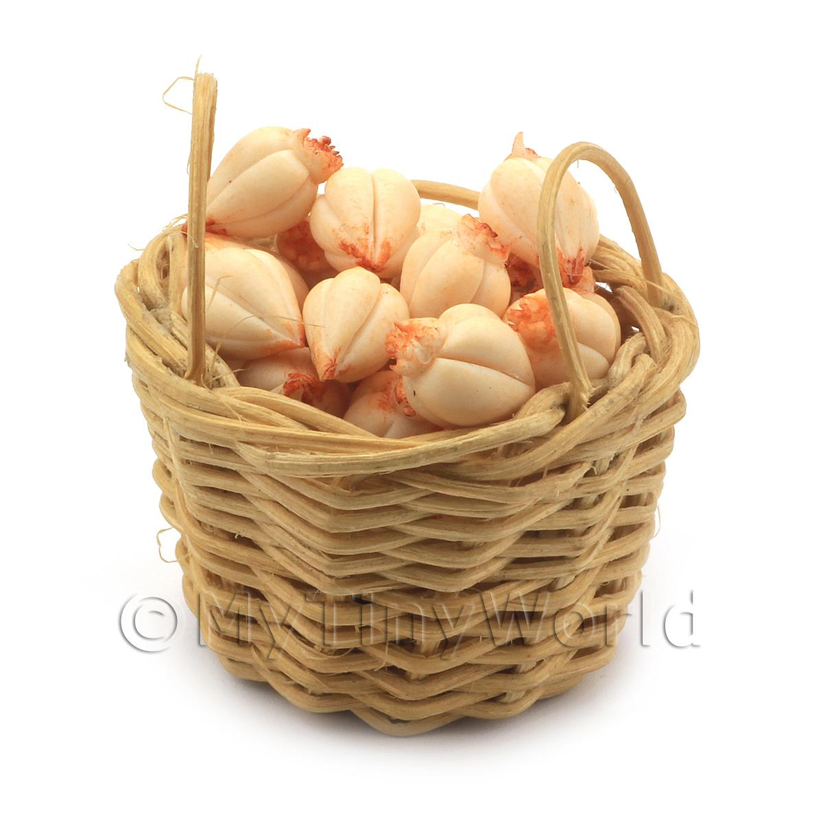 Dolls House Miniature Basket of Handmade Garlic Bulbs
