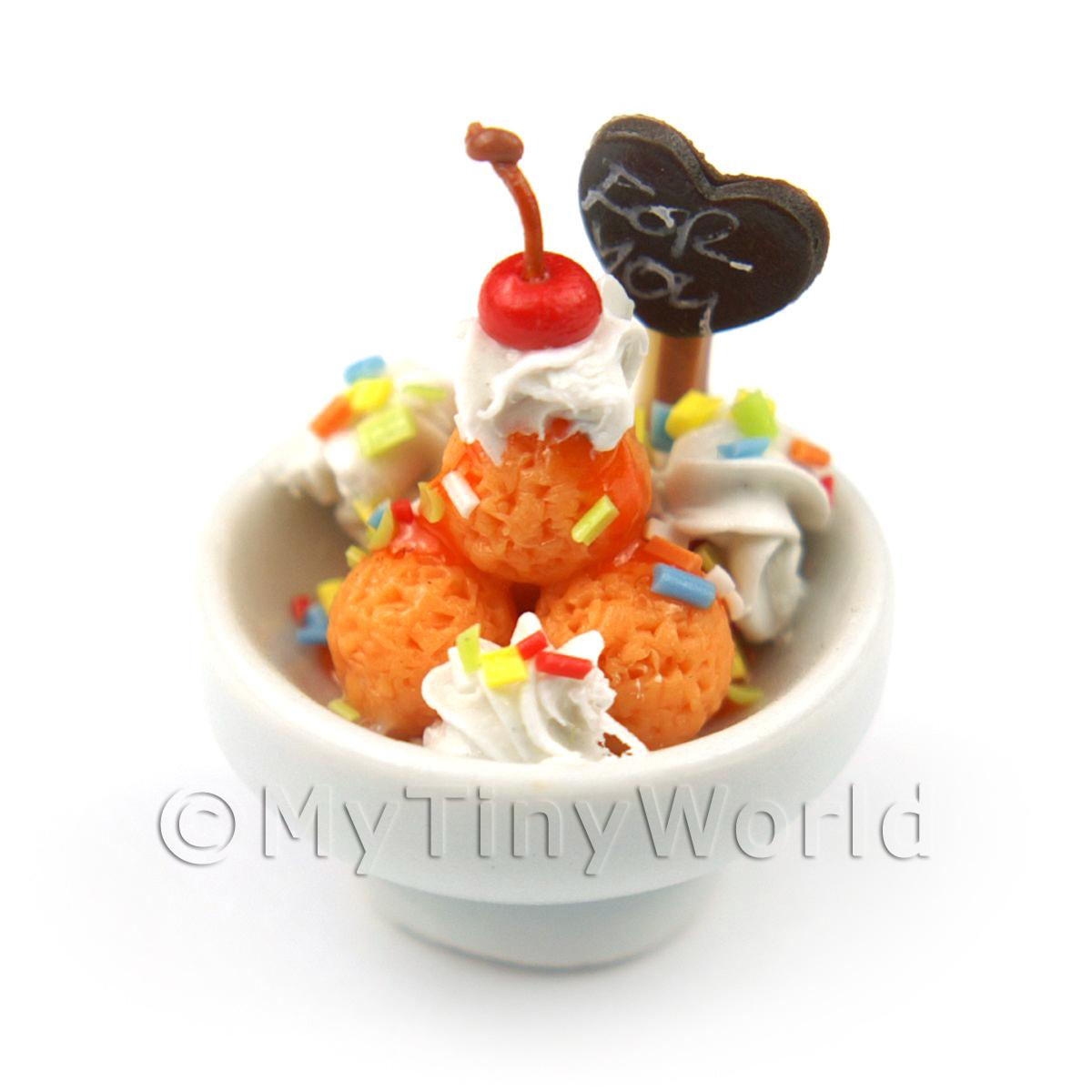 Dolls House Miniature Ice Cream Scoops in a Bowl