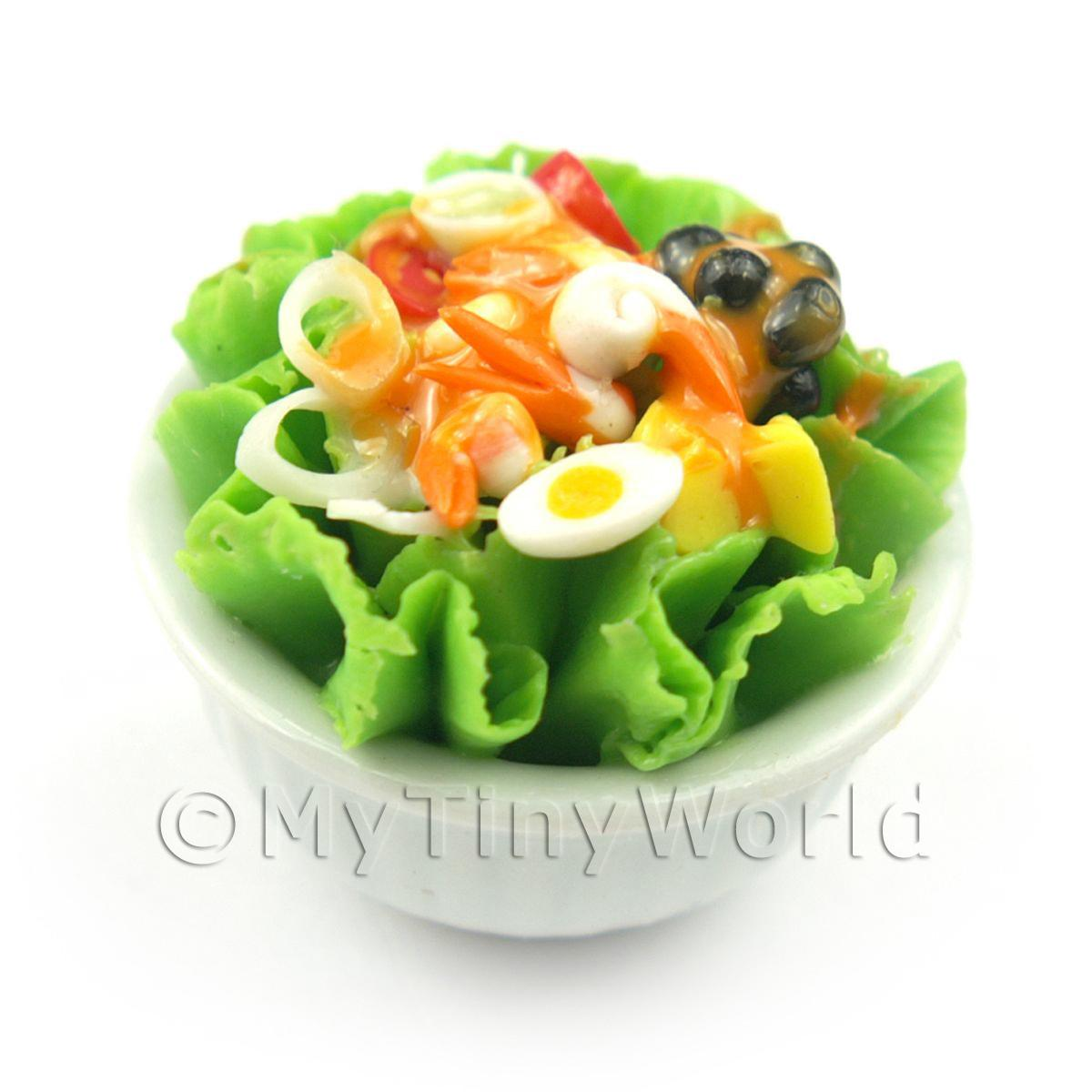Dolls House Miniature Bowl of Mixed Salad Style 2