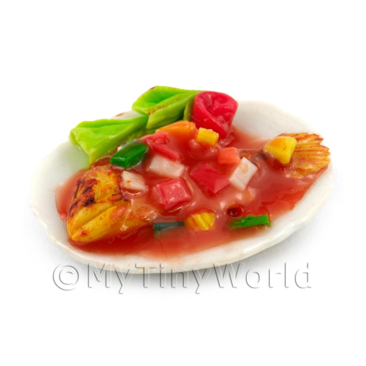 Dolls House Miniature Whole Cooked Fish With Sweet and Sour Sauce