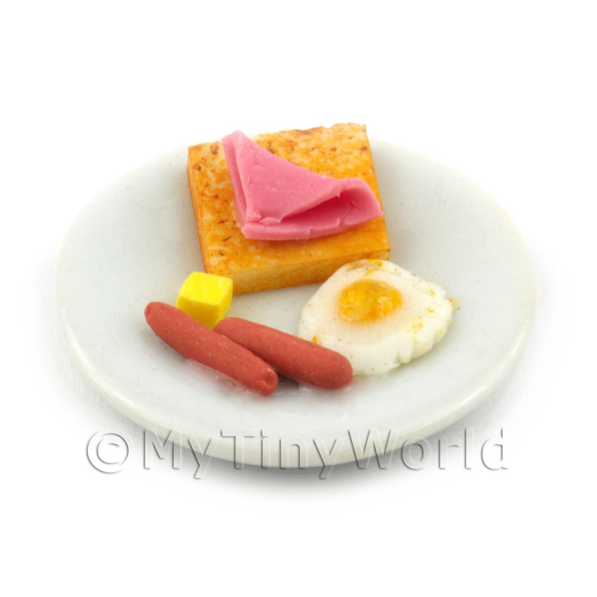 Dolls House Miniature American Breakfast Egg Sunny Side Up