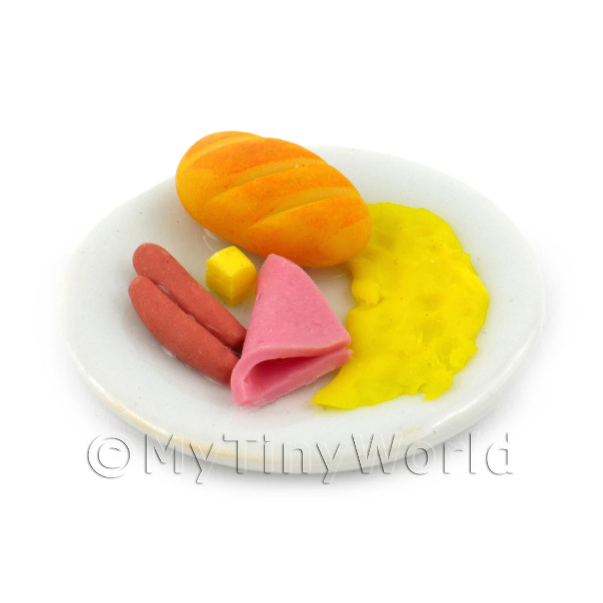 Dolls House Miniature American Breakfast With Omlette
