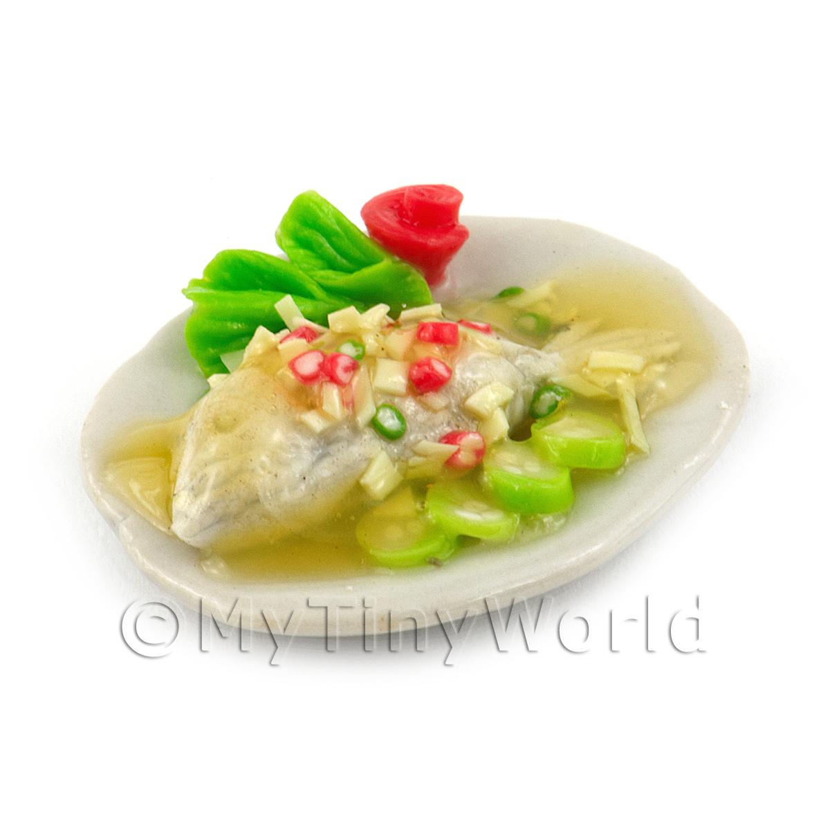 Dolls House Miniature Whole Cooked Steamed Fish With Garlic and Chilli