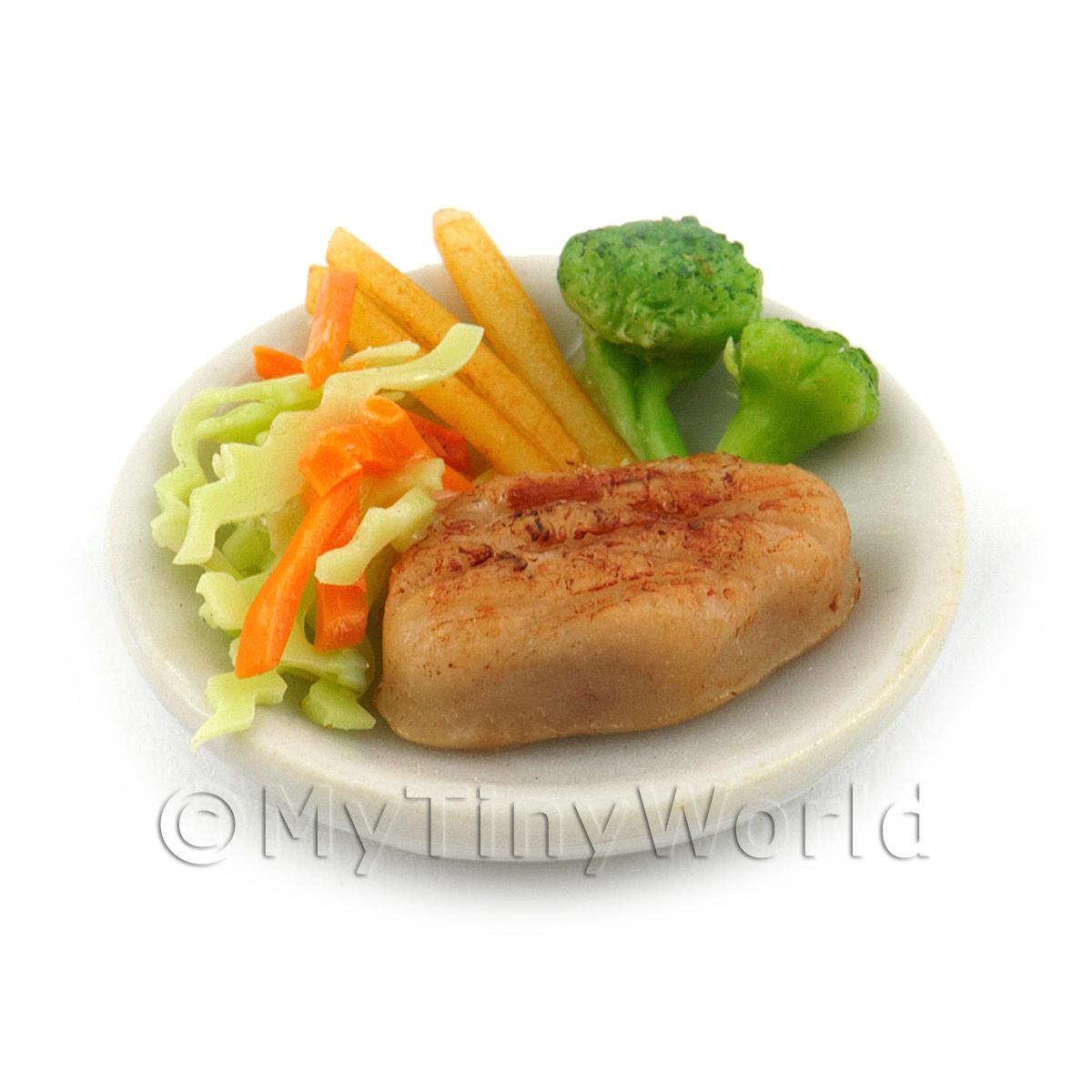 Dolls House Miniature Sirloin Steak on a  White Ceramic Plate With Vegetables